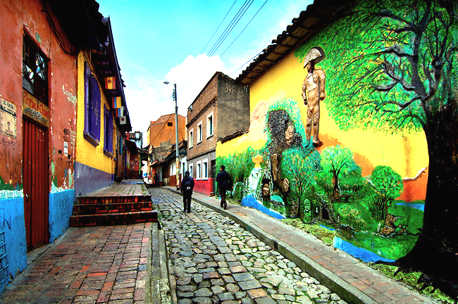 Colombia / Bogota / Callejon del Embudo or 'Funnel Alley' / Oldest and Narrowest Stone Made Street / El Chorro de Quevedo (where Bogota was founded)